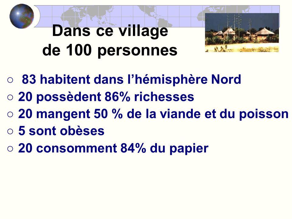 Dans ce village de 100 personnes 83 habitent dans lhémisphère Nord 20 possèdent 86% richesses 20 mangent 50 % de la viande et du poisson 5 sont obèses 20 consomment 84% du papier