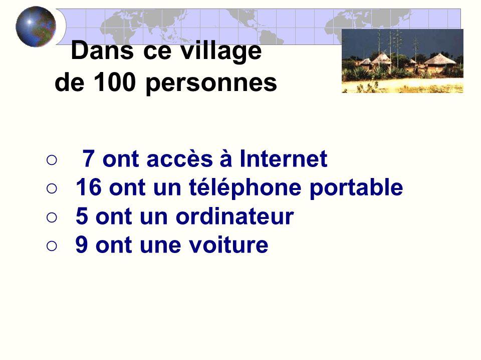 Dans ce village de 100 personnes 7 ont accès à Internet 16 ont un téléphone portable 5 ont un ordinateur 9 ont une voiture