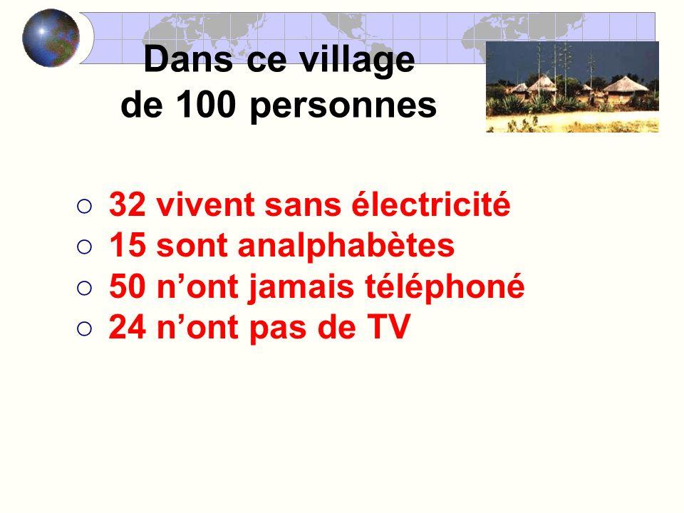Dans ce village de 100 personnes 32 vivent sans électricité 15 sont analphabètes 50 nont jamais téléphoné 24 nont pas de TV