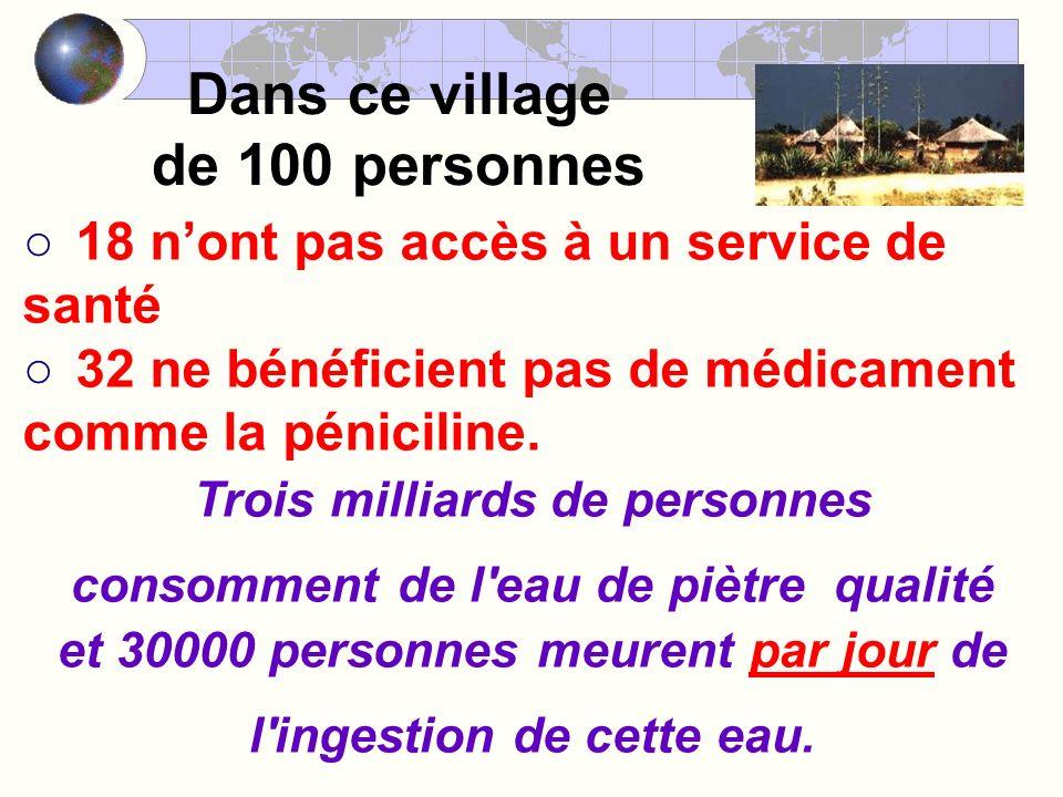 Dans ce village de 100 personnes 18 nont pas accès à un service de santé 32 ne bénéficient pas de médicament comme la péniciline.
