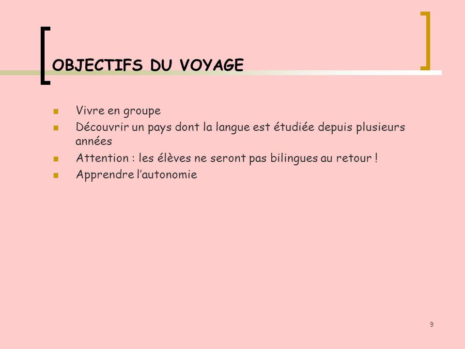9 OBJECTIFS DU VOYAGE Vivre en groupe Découvrir un pays dont la langue est étudiée depuis plusieurs années Attention : les élèves ne seront pas bilingues au retour .