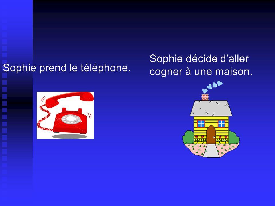 Sophie prend le téléphone. Sophie décide daller cogner à une maison.