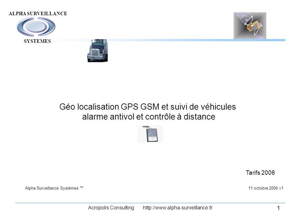 ALPHA SURVEILLANCE Acropolis Consulting http://www.alpha-surveillance.fr 1 Géo localisation GPS GSM et suivi de véhicules alarme antivol et contrôle à