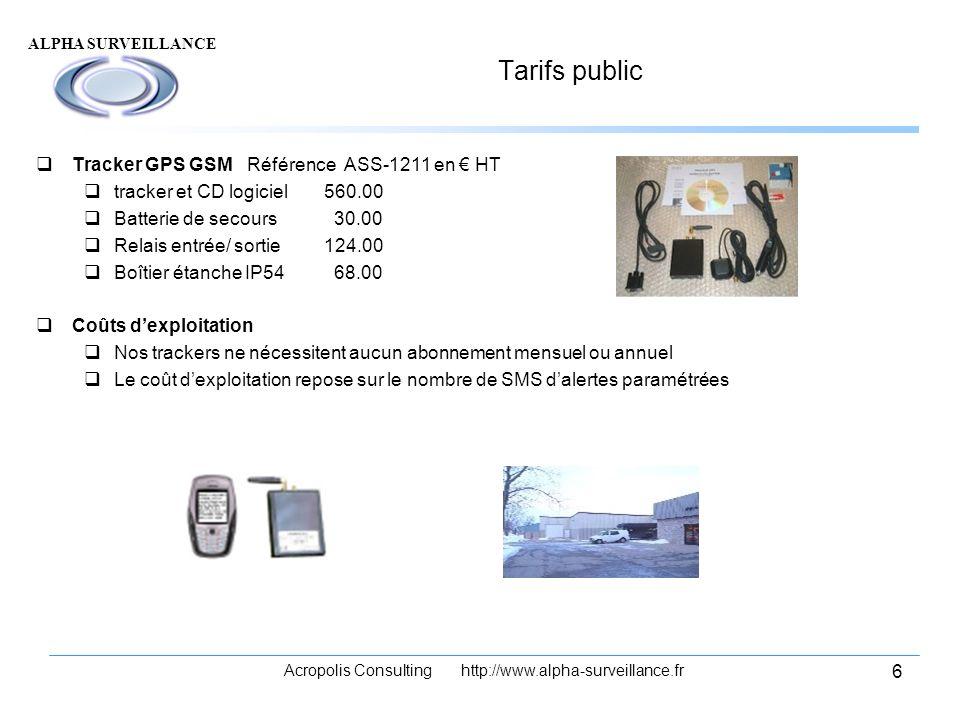 ALPHA SURVEILLANCE Acropolis Consulting http://www.alpha-surveillance.fr 6 Tarifs public Tracker GPS GSM Référence ASS-1211 en HT tracker et CD logici