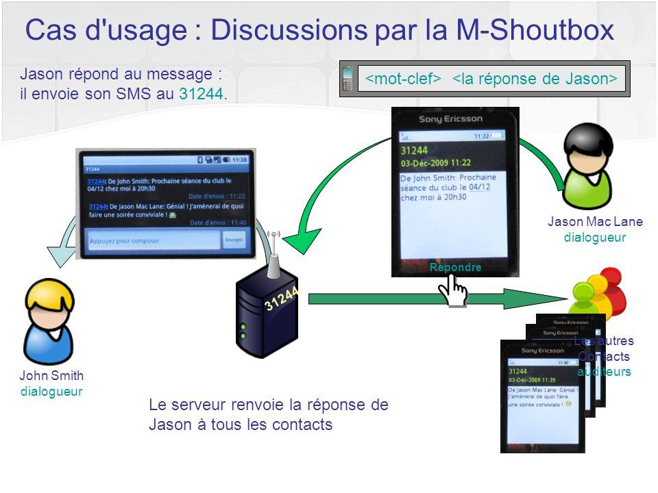 Jason répond au message : il envoie son SMS au 31244. 31244 Le serveur renvoie la réponse de Jason à tous les contacts Répondre Cas d'usage : Discussi