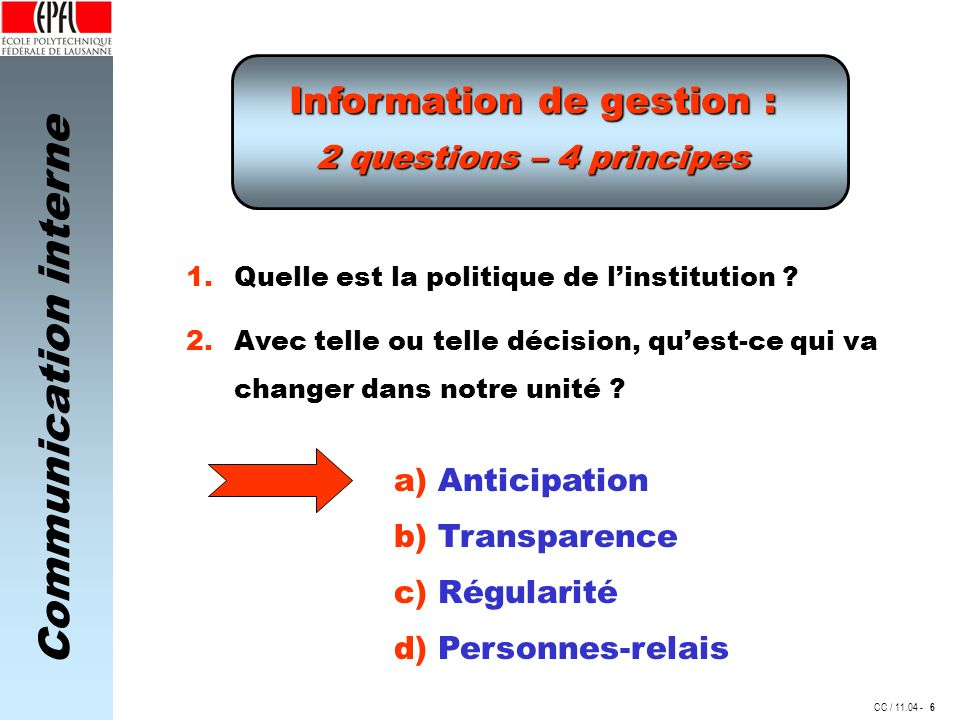 Communication interne CC / 11.04 - Information de gestion : 2 questions – 4 principes 1. Quelle est la politique de linstitution ? a) Anticipation 6 2