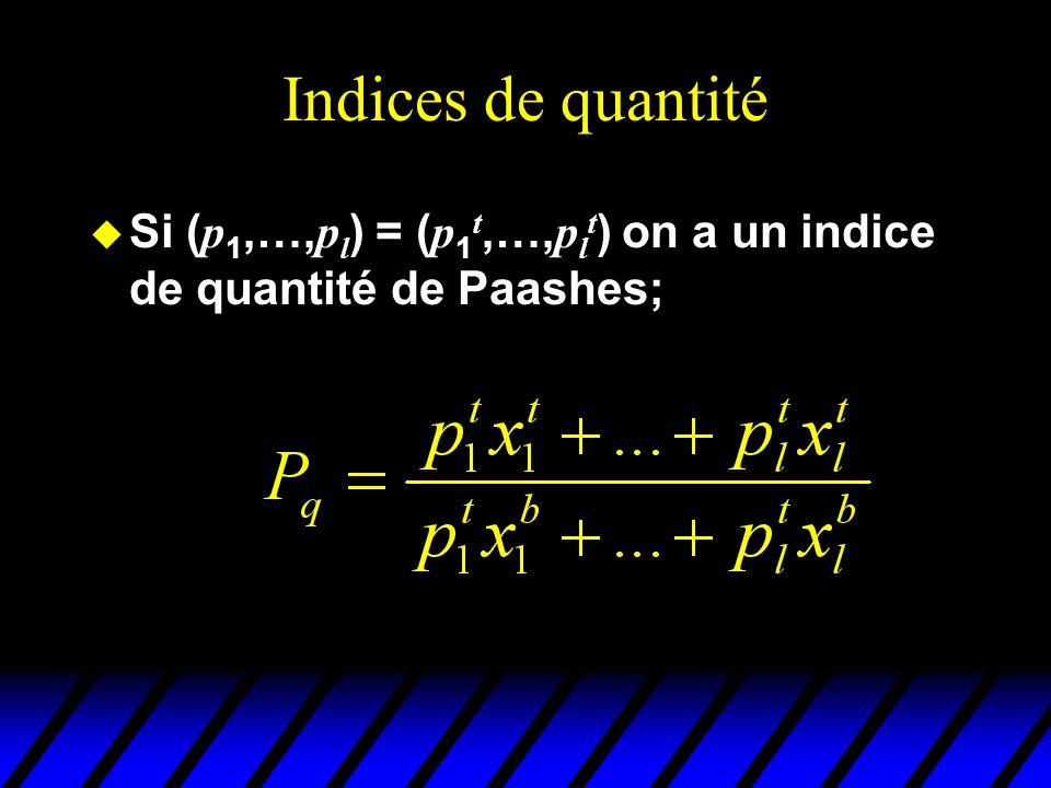 Indices de quantité Si ( p 1,…, p l ) = ( p 1 t,…, p l t ) on a un indice de quantité de Paashes;