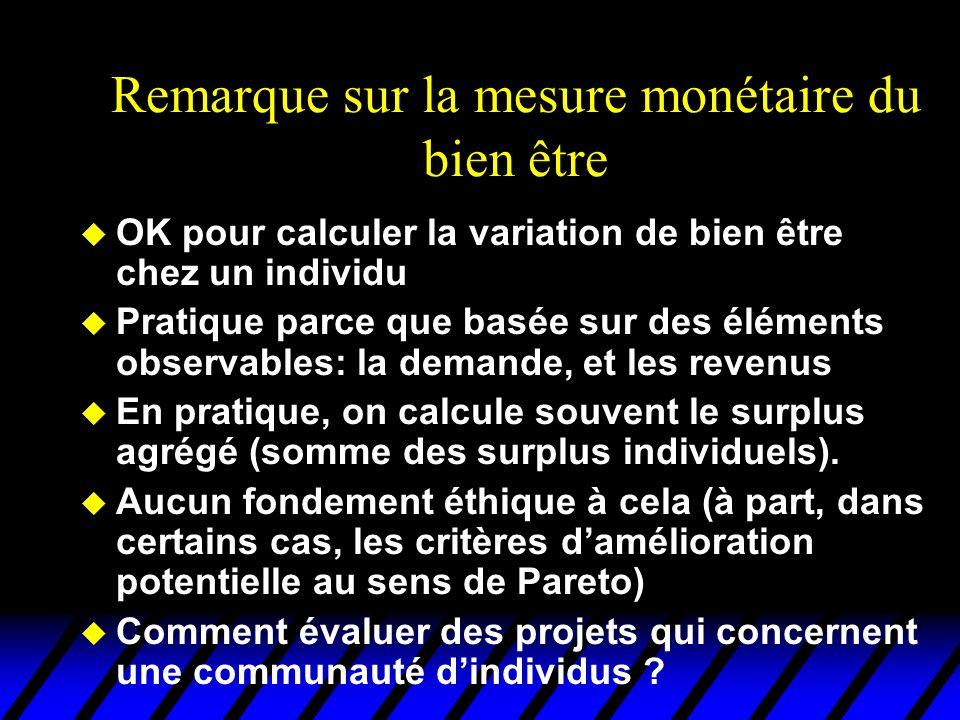 Remarque sur la mesure monétaire du bien être u OK pour calculer la variation de bien être chez un individu u Pratique parce que basée sur des éléments observables: la demande, et les revenus u En pratique, on calcule souvent le surplus agrégé (somme des surplus individuels).