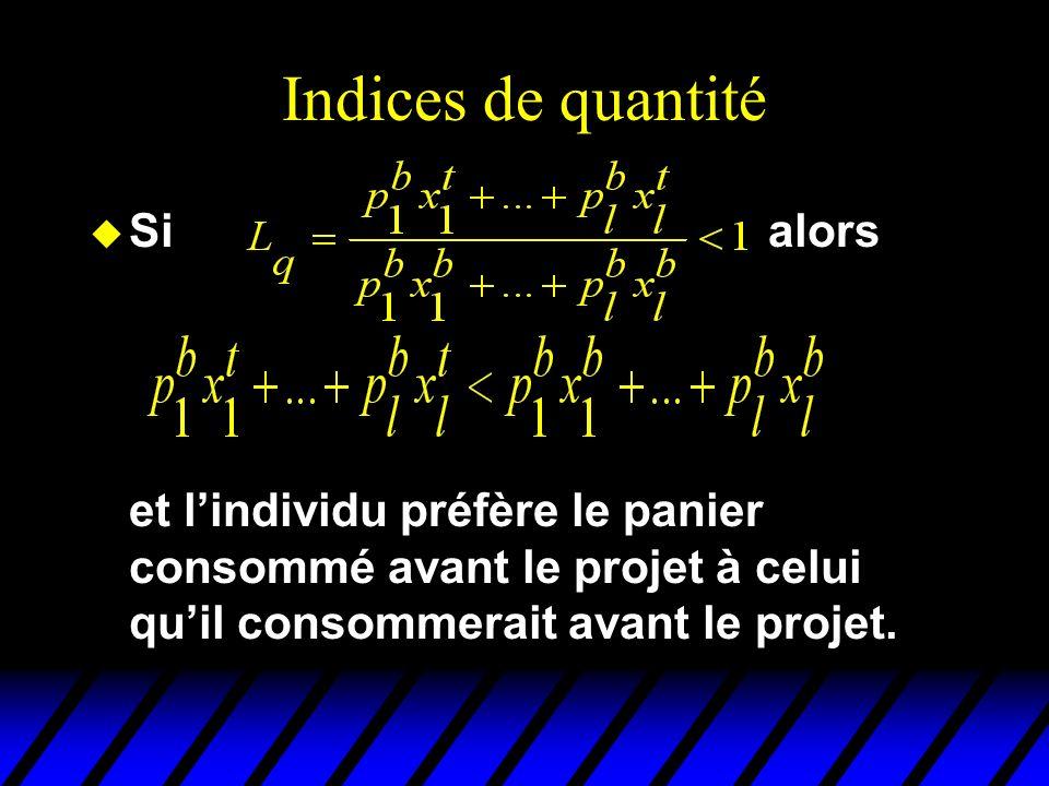 Indices de quantité u Si alors et lindividu préfère le panier consommé avant le projet à celui quil consommerait avant le projet.