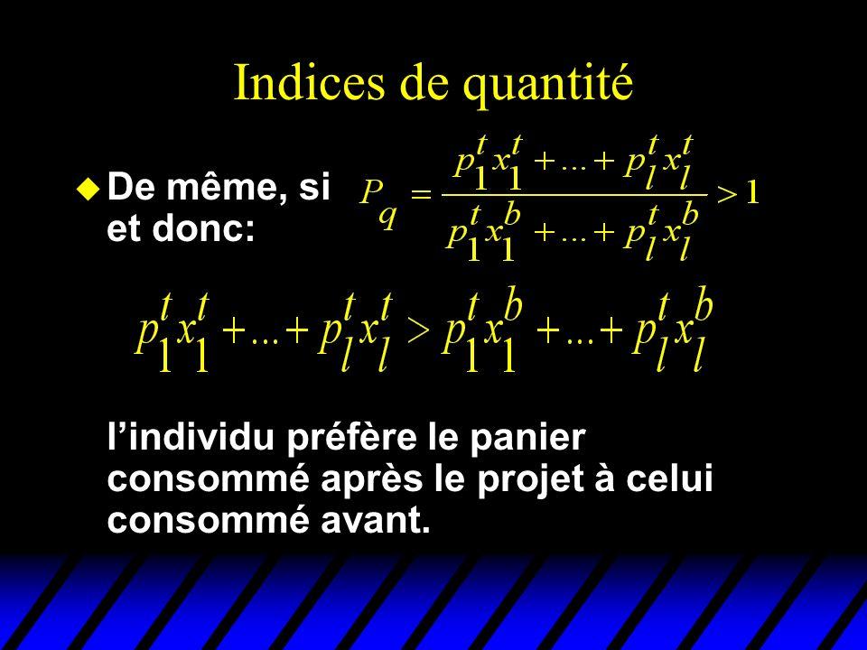Indices de quantité u De même, si et donc: lindividu préfère le panier consommé après le projet à celui consommé avant.