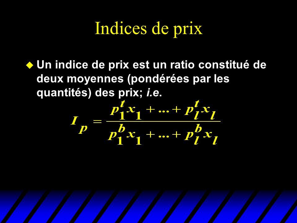 Indices de prix u Un indice de prix est un ratio constitué de deux moyennes (pondérées par les quantités) des prix; i.e.