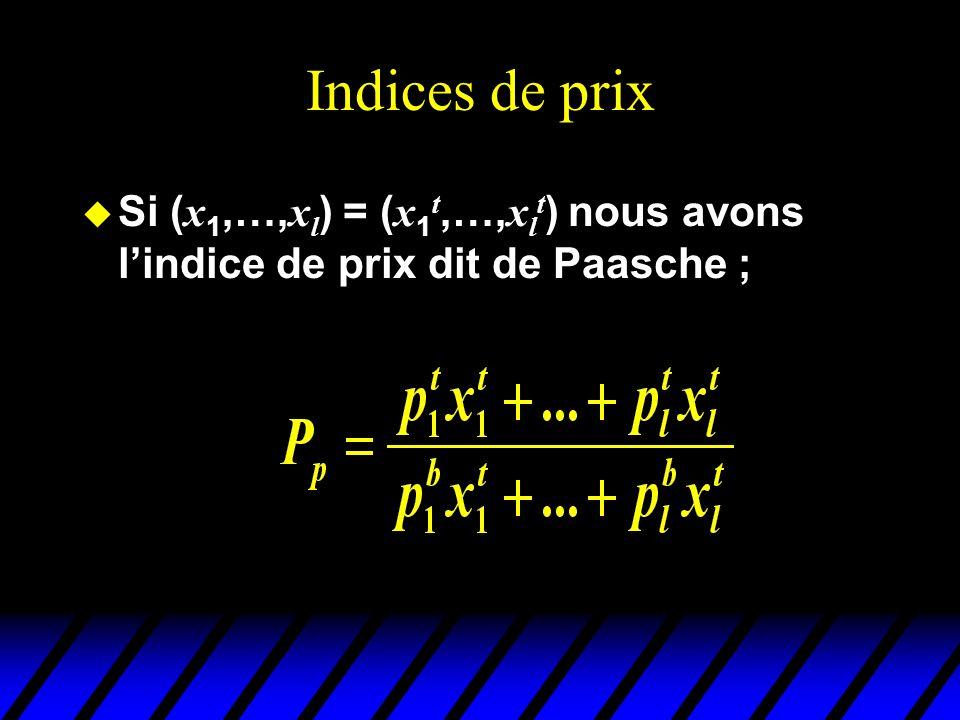 Indices de prix Si ( x 1,…, x l ) = ( x 1 t,…, x l t ) nous avons lindice de prix dit de Paasche ;