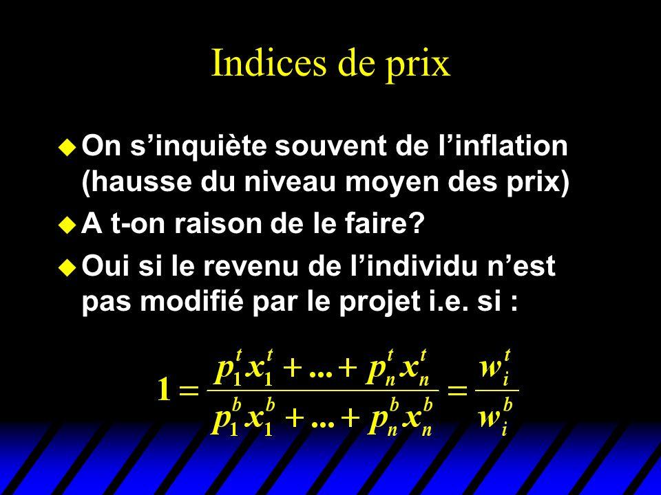 Indices de prix u On sinquiète souvent de linflation (hausse du niveau moyen des prix) u A t-on raison de le faire? u Oui si le revenu de lindividu ne