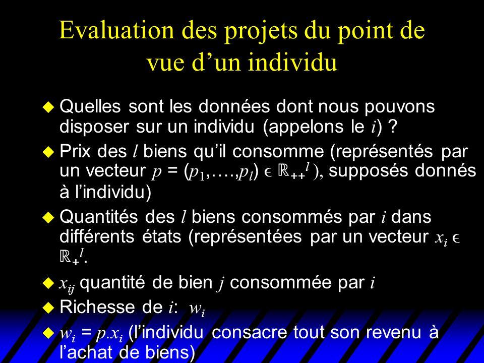 Evaluation des projets du point de vue dun individu Quelles sont les données dont nous pouvons disposer sur un individu (appelons le i ) ? Prix des l