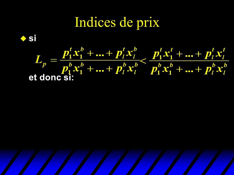Indices de prix u si et donc si: