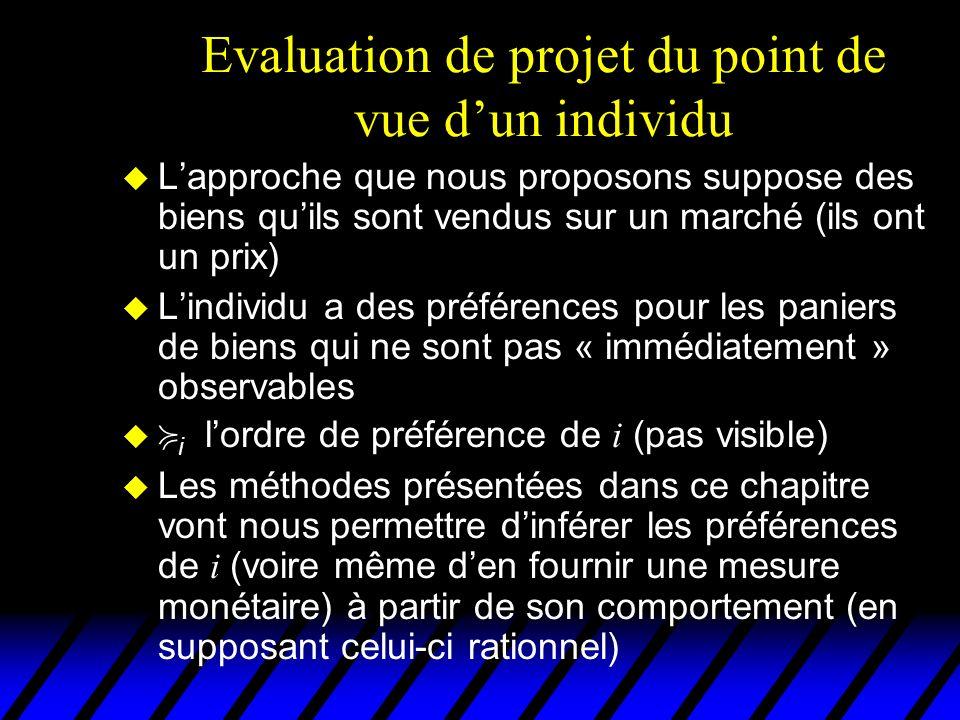 Evaluation de projet du point de vue dun individu u Lapproche que nous proposons suppose des biens quils sont vendus sur un marché (ils ont un prix) L