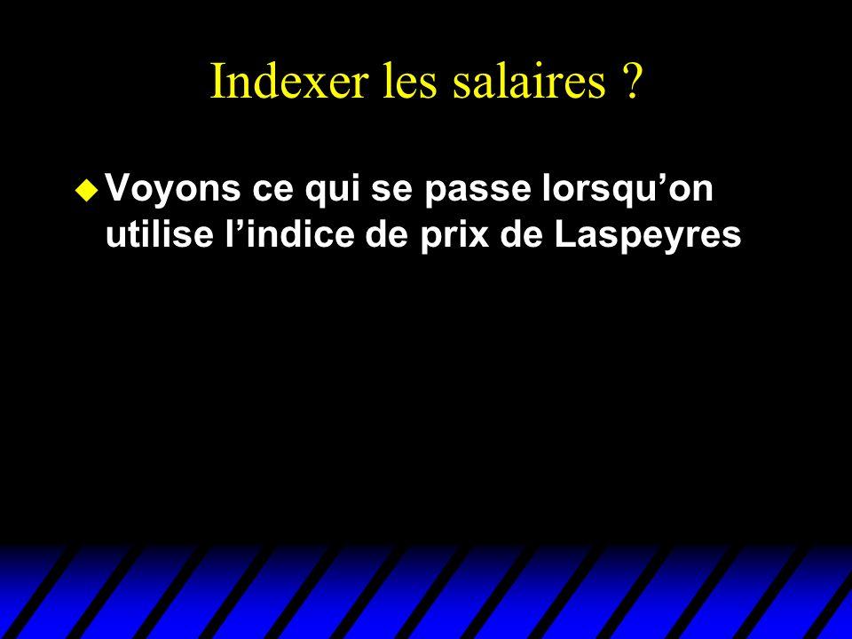 Indexer les salaires u Voyons ce qui se passe lorsquon utilise lindice de prix de Laspeyres