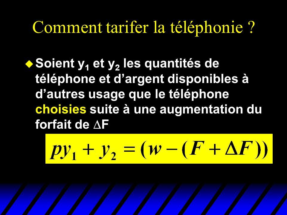 Comment tarifer la téléphonie ? u Soient y 1 et y 2 les quantités de téléphone et dargent disponibles à dautres usage que le téléphone choisies suite