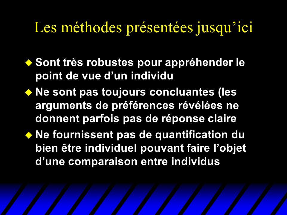 Les méthodes présentées jusquici u Sont très robustes pour appréhender le point de vue dun individu u Ne sont pas toujours concluantes (les arguments de préférences révélées ne donnent parfois pas de réponse claire u Ne fournissent pas de quantification du bien être individuel pouvant faire lobjet dune comparaison entre individus