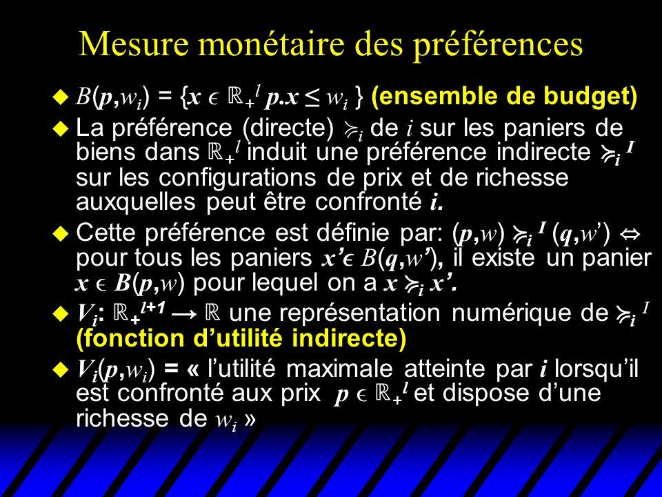 Mesure monétaire des préférences B ( p, w i ) = { x + l p.x w i } (ensemble de budget) La préférence (directe) i de i sur les paniers de biens dans +