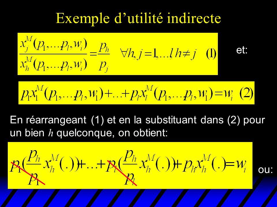 Exemple dutilité indirecte En réarrangeant (1) et en la substituant dans (2) pour un bien h quelconque, on obtient: et: ou: