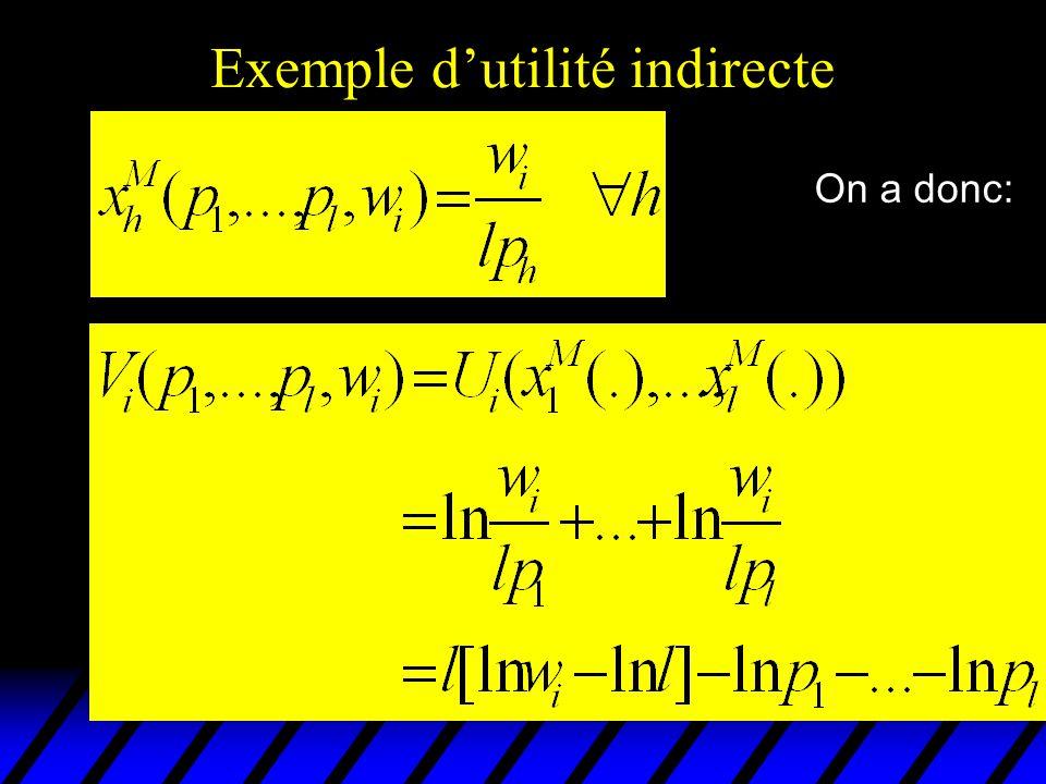 Exemple dutilité indirecte On a donc: