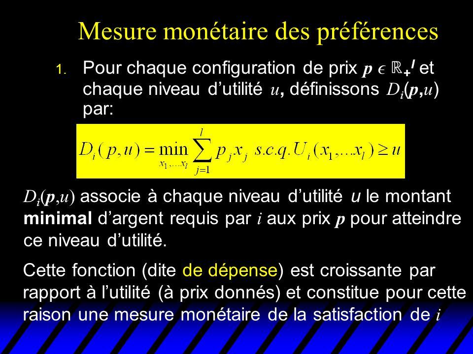 Mesure monétaire des préférences 1. Pour chaque configuration de prix p + l et chaque niveau dutilité u, définissons D i ( p, u ) par: D i (p,u) assoc
