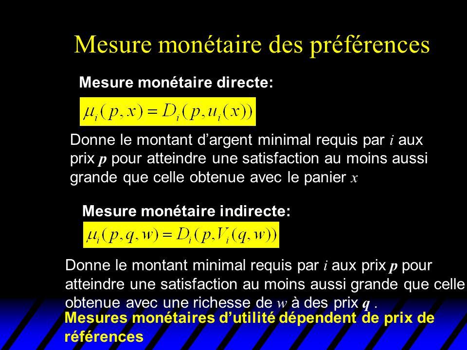 Mesure monétaire des préférences Donne le montant minimal requis par i aux prix p pour atteindre une satisfaction au moins aussi grande que celle obtenue avec une richesse de w à des prix q.