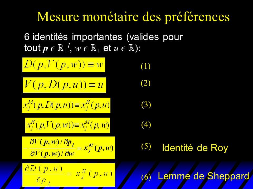 Mesure monétaire des préférences 6 identités importantes (valides pour tout p + l, w + et u ): (1) (2) (3) (4) (5) Identité de Roy (6) Lemme de Sheppa