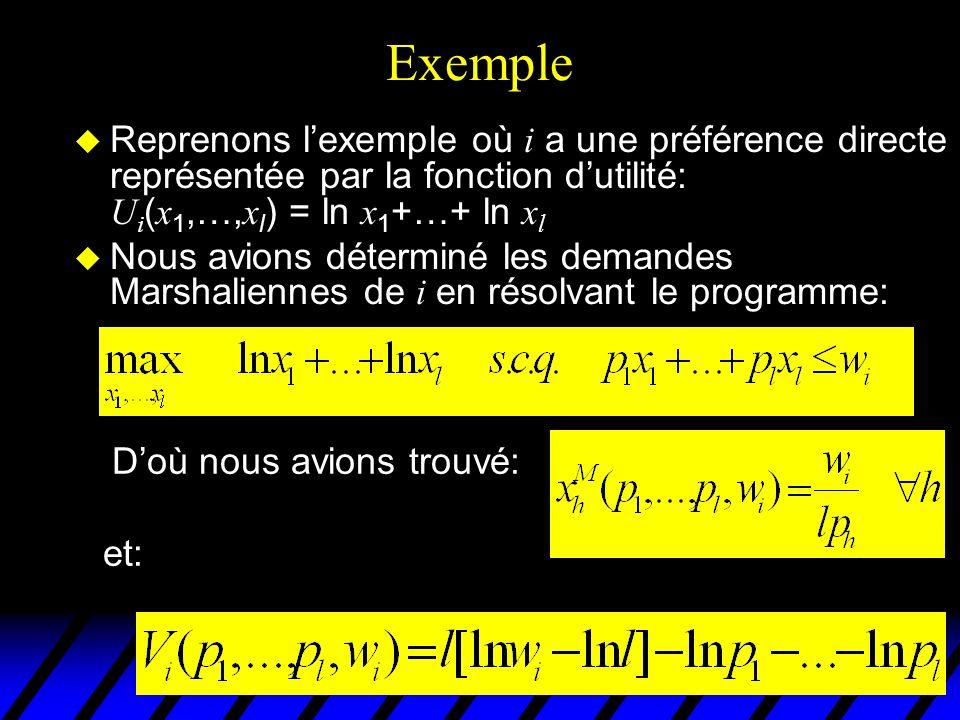 Exemple Reprenons lexemple où i a une préférence directe représentée par la fonction dutilité: U i ( x 1,…, x l ) = ln x 1 +…+ ln x l Nous avions déte