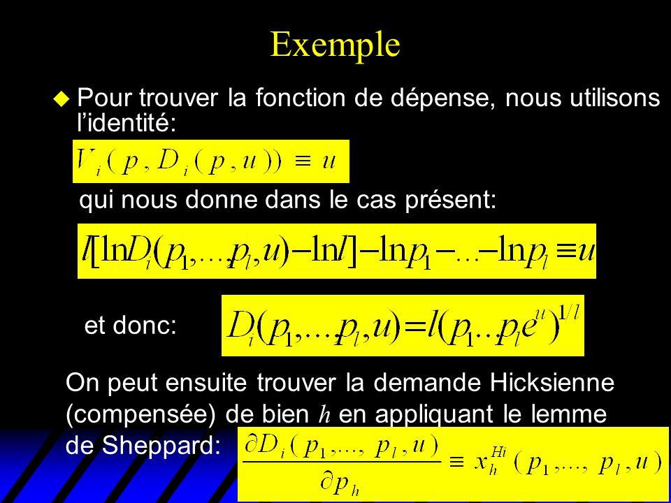 Exemple u Pour trouver la fonction de dépense, nous utilisons lidentité: qui nous donne dans le cas présent: et donc: On peut ensuite trouver la demande Hicksienne (compensée) de bien h en appliquant le lemme de Sheppard: