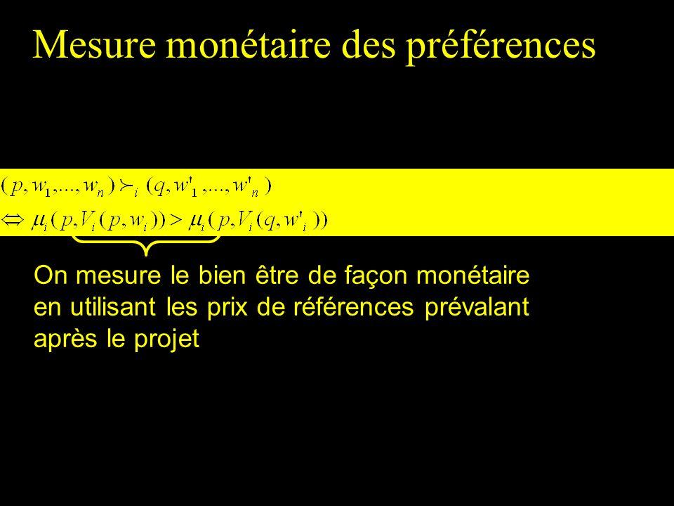 On mesure le bien être de façon monétaire en utilisant les prix de références prévalant après le projet