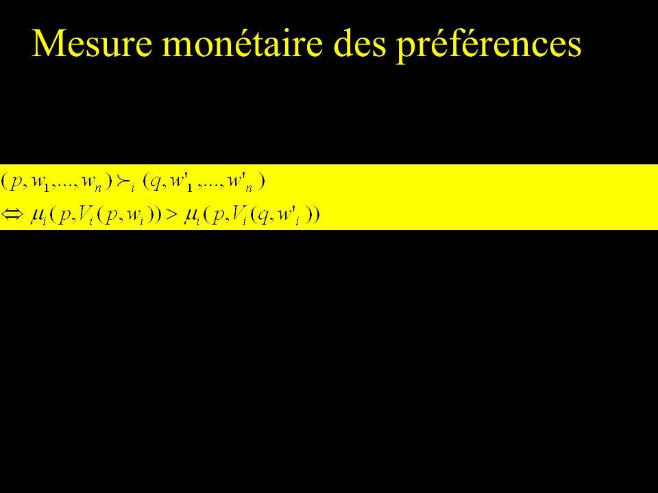 Mesure monétaire des préférences