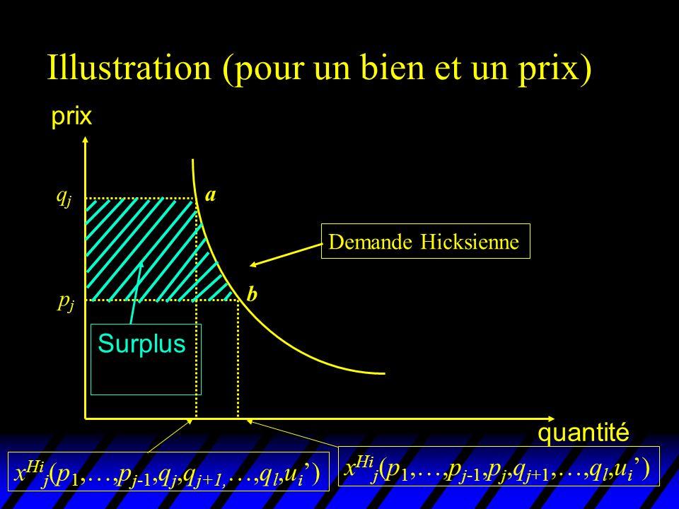 Illustration (pour un bien et un prix) prix quantité Demande Hicksienne qjqj pjpj Surplus x Hi j (p 1,…,p j-1,q j,q j+1, …,q l,u i ) x Hi j (p 1,…,p j