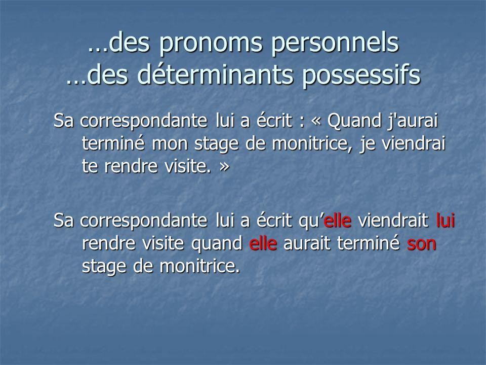 …des pronoms personnels …des déterminants possessifs Sa correspondante lui a écrit : « Quand j aurai terminé mon stage de monitrice, je viendrai te rendre visite.
