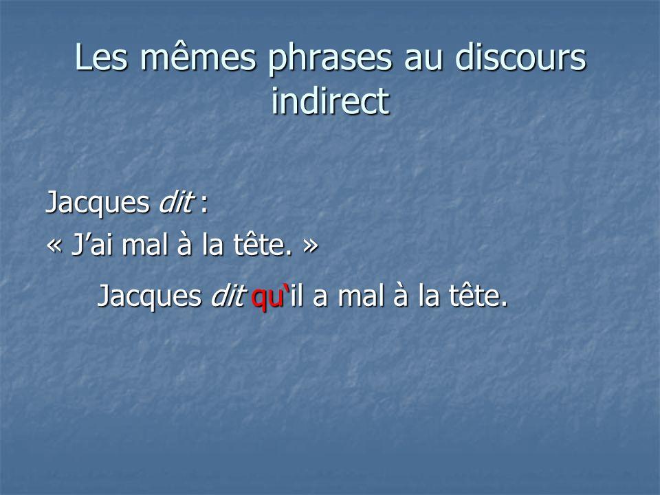 Les mêmes phrases au discours indirect Jacques dit : « Jai mal à la tête.