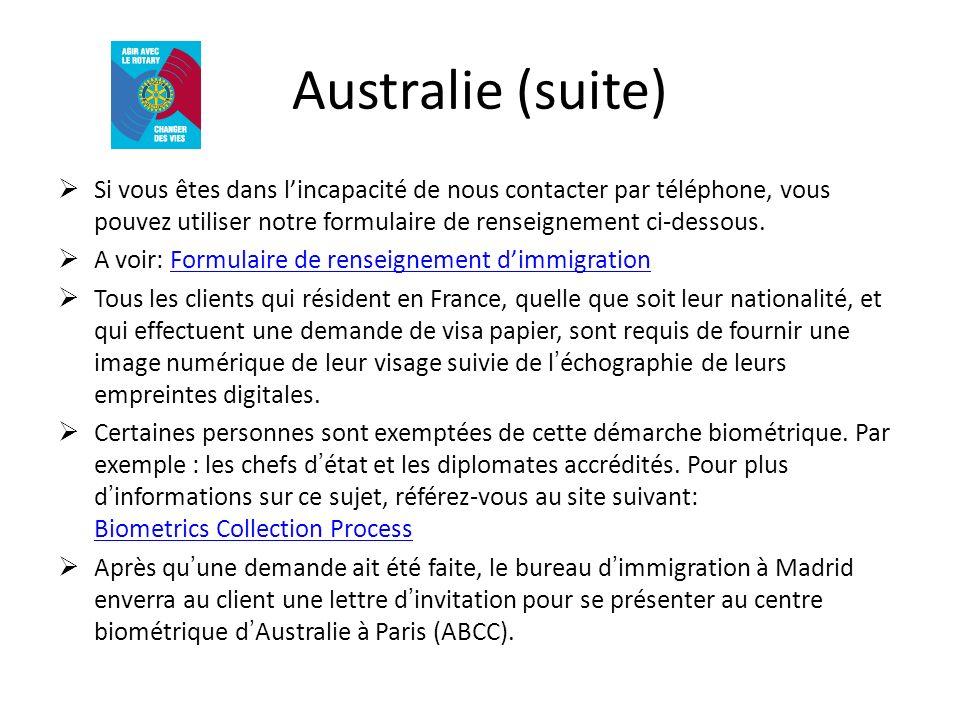 Australie (suite) Si vous êtes dans lincapacité de nous contacter par téléphone, vous pouvez utiliser notre formulaire de renseignement ci-dessous. A