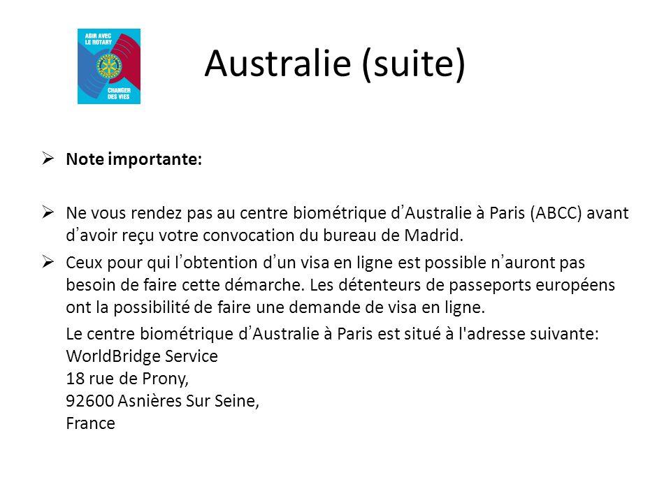 Australie (suite) Note importante: Ne vous rendez pas au centre biométrique dAustralie à Paris (ABCC) avant davoir reçu votre convocation du bureau de