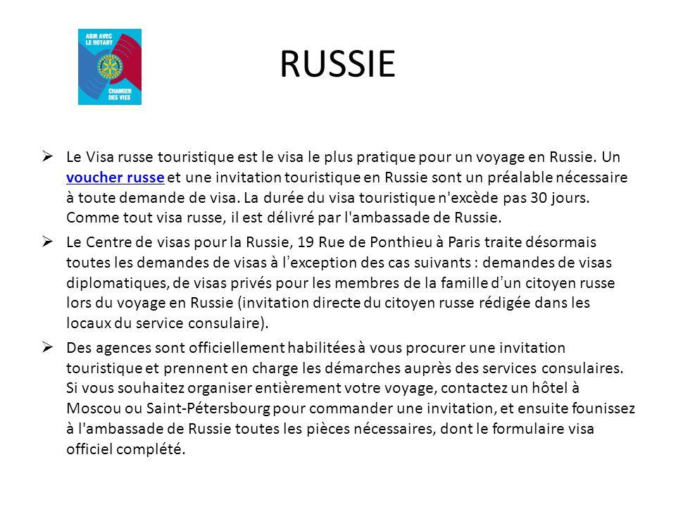 RUSSIE Le Visa russe touristique est le visa le plus pratique pour un voyage en Russie. Un voucher russe et une invitation touristique en Russie sont