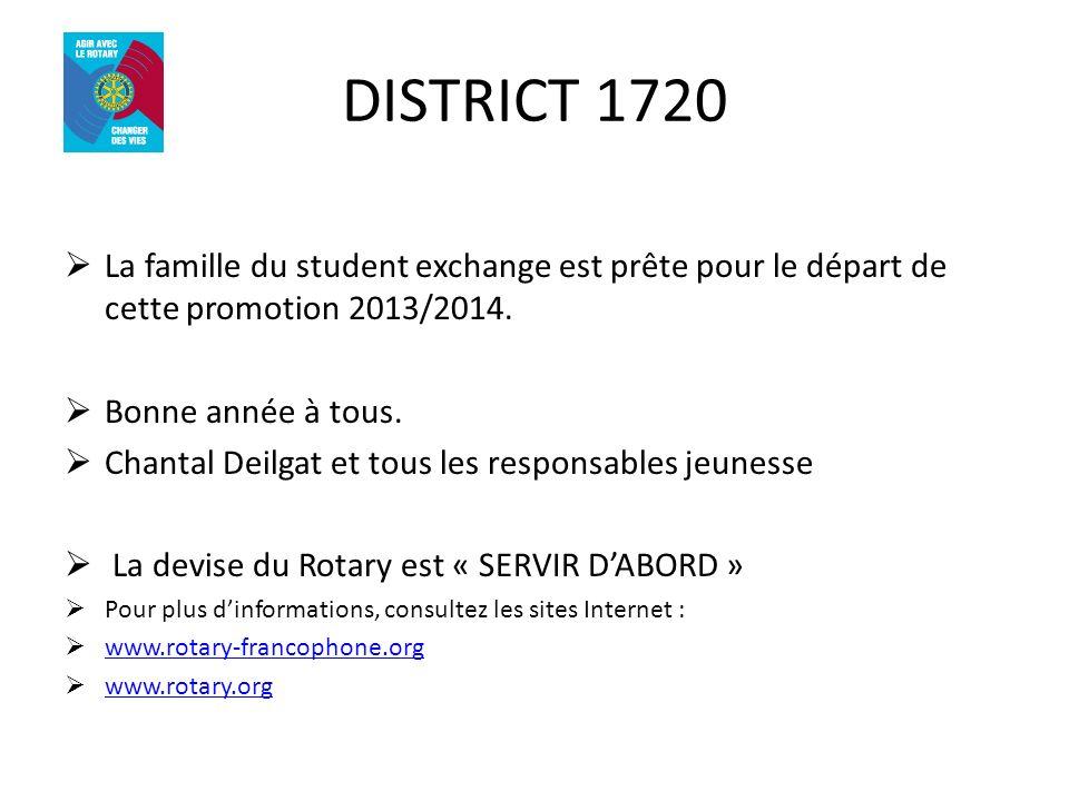 DISTRICT 1720 La famille du student exchange est prête pour le départ de cette promotion 2013/2014. Bonne année à tous. Chantal Deilgat et tous les re