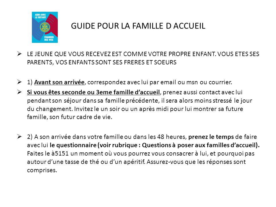 GUIDE POUR LA FAMILLE D ACCUEIL LE JEUNE QUE VOUS RECEVEZ EST COMME VOTRE PROPRE ENFANT.