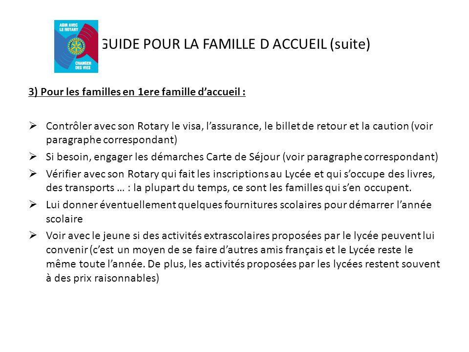 GUIDE POUR LA FAMILLE D ACCUEIL (suite) 3) Pour les familles en 1ere famille daccueil : Contrôler avec son Rotary le visa, lassurance, le billet de re