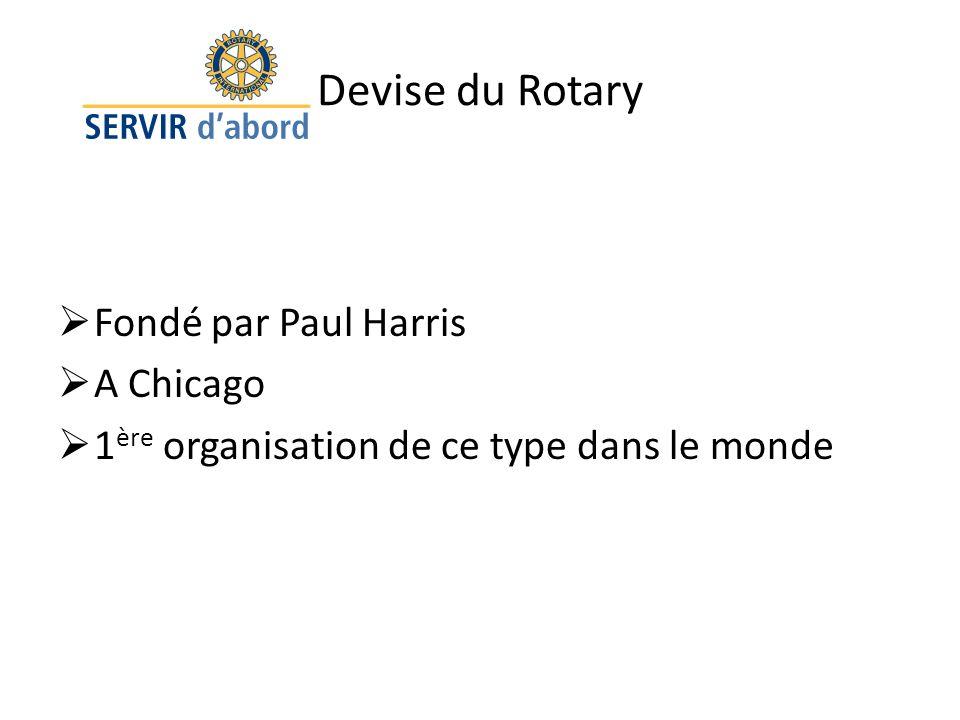 Devise du Rotary Fondé par Paul Harris A Chicago 1 ère organisation de ce type dans le monde