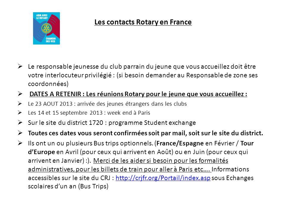 Les contacts Rotary en France Le responsable jeunesse du club parrain du jeune que vous accueillez doit être votre interlocuteur privilégié : (si beso