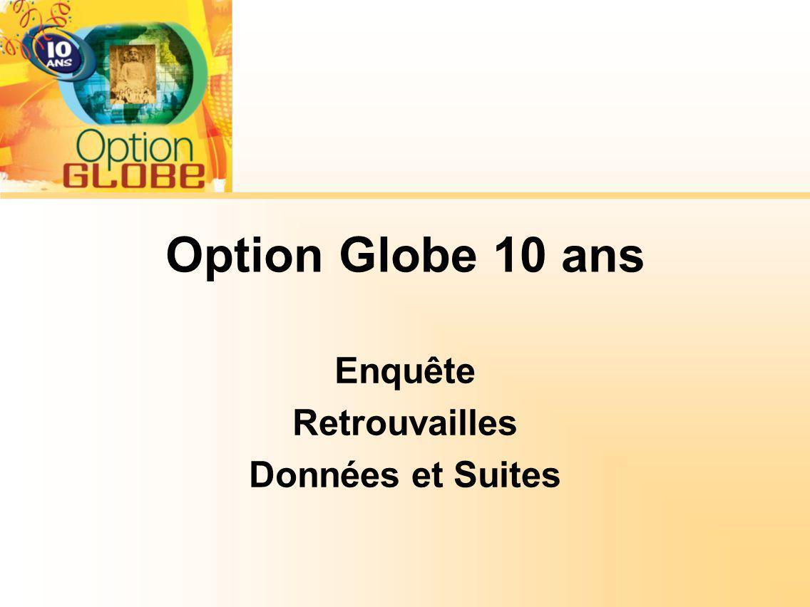 Option Globe 10 ans Enquête Retrouvailles Données et Suites