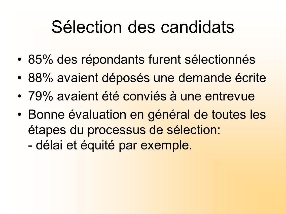 Sélection des candidats 85% des répondants furent sélectionnés 88% avaient déposés une demande écrite 79% avaient été conviés à une entrevue Bonne évaluation en général de toutes les étapes du processus de sélection: - délai et équité par exemple.
