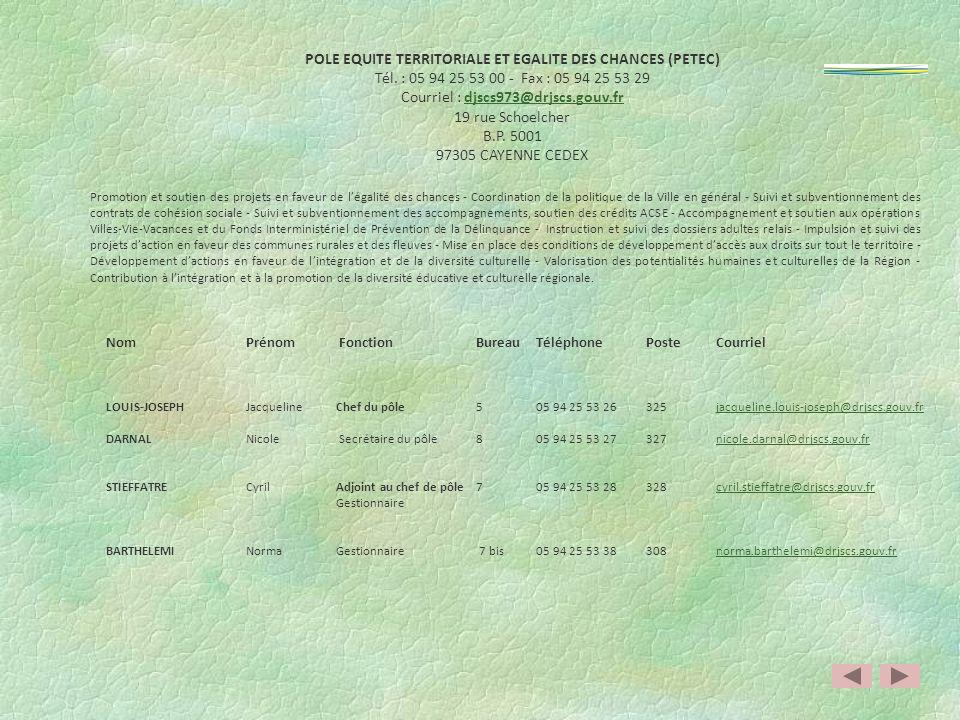 POLE SPORTS(PS) Tél. : 05 94 29 92 05 - Fax : 05 94 30 00 59 Courriel : djscs973@drjscs.gouv.frdjscs973@drjscs.gouv.fr 16 Boulevard de la République B