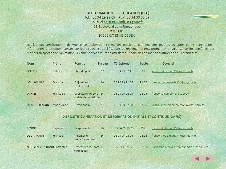 POLE RESSOURCES INTERNES (PRI) Tél. : 05 94 25 53 00 - Fax : 05 94 25 53 29 Courriel : djscs973@drjscs.gouv.frdjscs973@drjscs.gouv.fr 19 rue Schœlcher