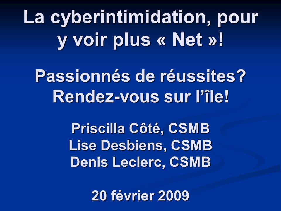 La cyberintimidation, pour y voir plus « Net ».Passionnés de réussites.