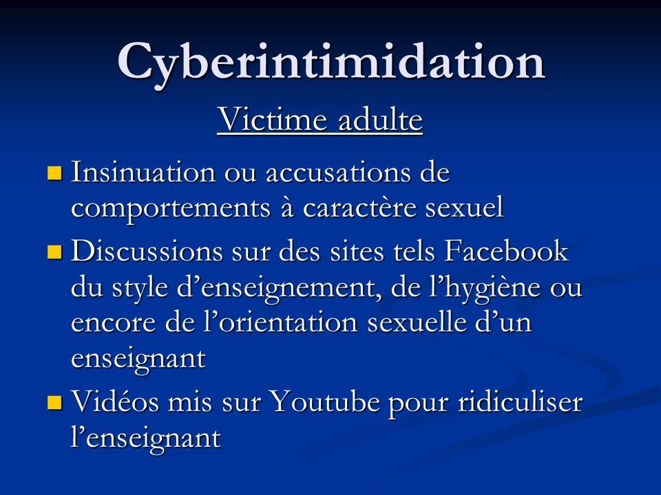 Cyberintimidation Pourquoi la victime ne parle pas?* Cest mon problème, pas celui de lécole Cest mon problème, pas celui de lécole Les intervenants de